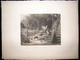After Collins C1840 LG Folio Steel Engraving. Happy as a King. Children Print
